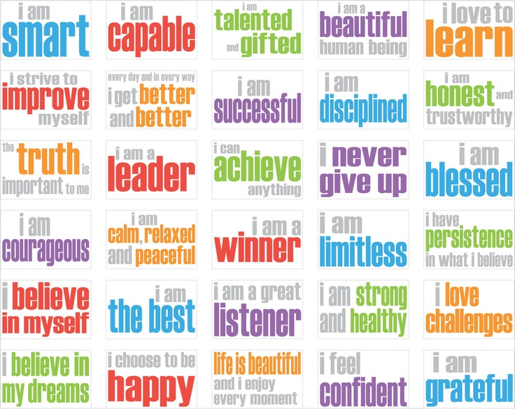 Affirmation Posters for Children - or turn into cards the kids can draw from and keep.  ~LS