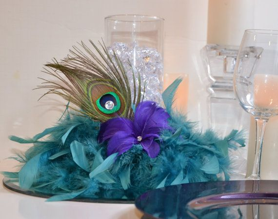 10 peacock feather wedding reception centerpieces peacock - Purple and teal centerpieces ...