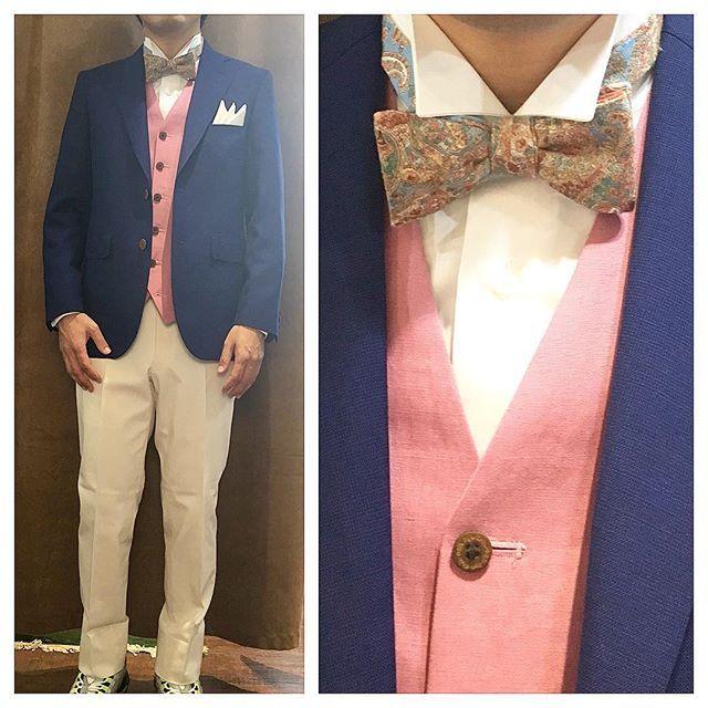 blue jacket & white denim pants.  ライトブルージャケットにホワイトデニムパンツ。  柔らかいピンクのベストを添えて。  オーダーメイド製品はlifestyleorderへ。  all made in JAPAN  素敵な結婚式の写真を@lso_wdにアップしました。  wedding photo…@lso_wd  #ライフスタイルオーダー#オーダースーツ目黒#結婚式#カジュアルウエディング#ナチュラルウエディング#レストランウエディング#結婚準備#新郎衣装#新郎#プレ花嫁#蝶ネクタイ#メンズファッション#モデル#ハワイ#ペイズリー  #lifestyleorder#japan#meguro#photooftheday#instagood#wedding#tailor#snap#mensfashion#menswear#follow#ootd#bowtie#hawaii#resort