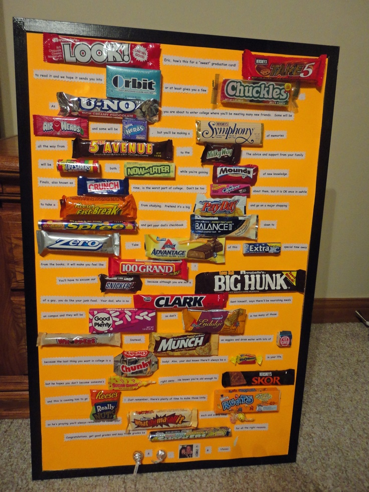 Graduation card made with a 23X34 picture frame and candy bars, which tells a story. So clever!