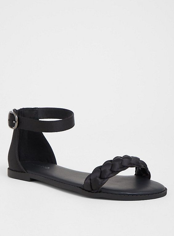 073f893bed44b0 Black Braided Flat Sandal (Wide Width)