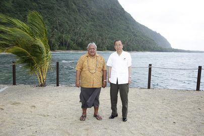 Ban Ki-moon meets Samoa Prime Minister during site visit to climate displaced community at 3rd International Small Islands Developing State Conference on Pacific Island of Samoa. Stopping Climate Change is 'About People', about Survival, says UN Envoy http://www.un.org/apps/news/story.asp?NewsID=48614#.VAZxXUiBEpx
