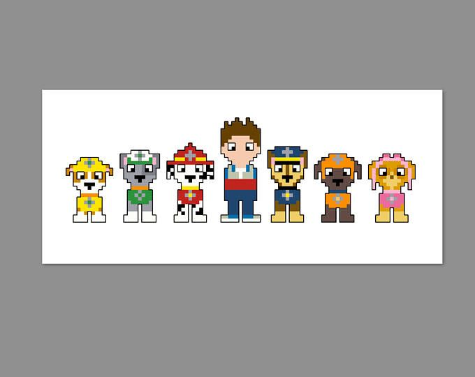 Paw Patrol Pixel People Character Cross Stitch PDF PATTERN ONLY