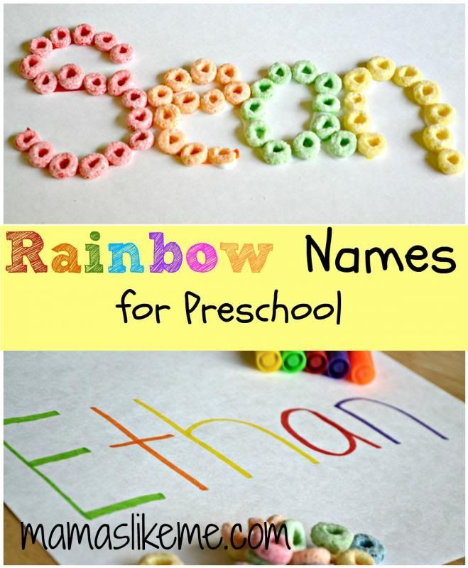 Color matching and beginning writing activity for preschool children. Teach your kids how to write their names with this cereal and school glue learning activity.