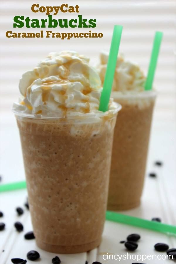 COPYCAT STARBUCKS CARAMEL FRAPPUCCINO!! Want a delicious and oh so much lessexpensive alternative to Starbucks try this yummy drink! RECIPE HERE :