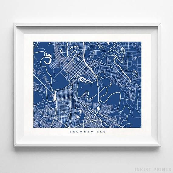 Brownsville, Texas Street Map Wall Art Poster - 70 Color Options - Prices from $9.95 - Click Photo for Details - #streetmap #map #homedecor #wallart #Brownsville #Texas
