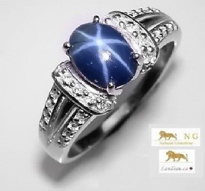 1.91 ct NATURAL BLUE STAR SAPPHIRE RING