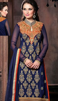 Fashionable Indian Bue Georgette A Line Suit
