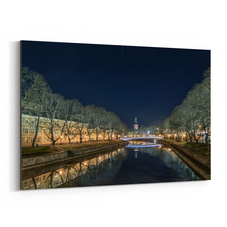 Noir Gallery Turku Finland Night Cityscape Canvas Wall Art Print (24 x 36), Black