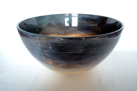 Extra Large Bowl Contemporary Bowl, Pottery Bowl, Two Tone Bowl, Rustic Bowl, Mixing Bowl, Serving Bowl, Family Style Serving