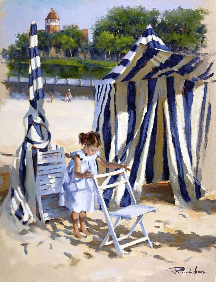 Ricardo Sanz – En la playa de Ondarreta Óleo sobre lienzo. 65×50 cms.