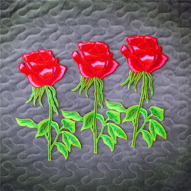 Бесплатная доставка новый 1 шт. хороший вырос патч для одежды вышитые железа на патчи цветок одежды аппликации поделки аксессуар A196