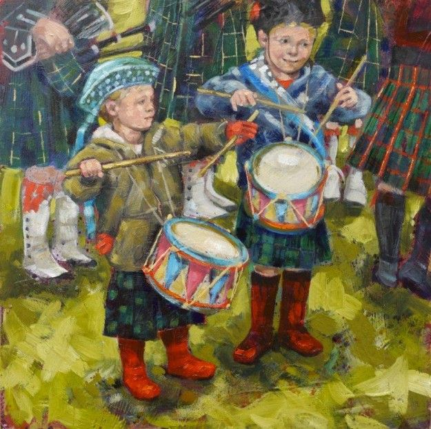 Lisette Degioanni The Wee Ones Oil & Collage | Scottish Contemporary Art