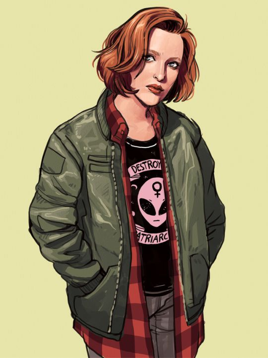 LISA STERLE grunge scully    http://lisasterle.tumblr.com/post/157787769013/been-re-watching-x-files-and-had-to-draw-a-90s    https://www.lookhuman.com/design/147318-destroy-the-patriarchy/racerback-tank
