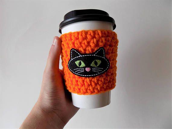 Cat Cup Sleeve Crochet Cup Cozy Cat Lover Coffee Cozy Cat