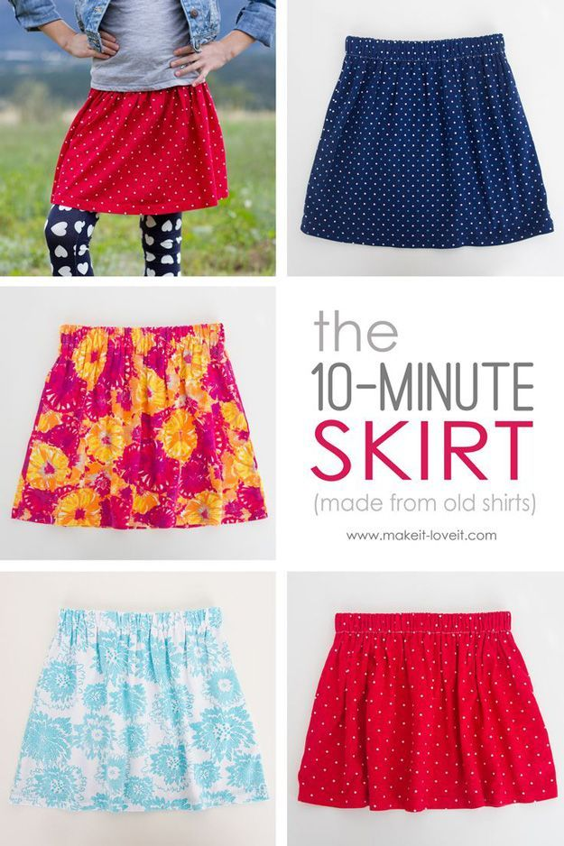 Easy Skirt Tutorials | The 10-Minute Skirt by DIY Ready at www.diyready.com/15-diy-clothes-for-kids-you-should-make/