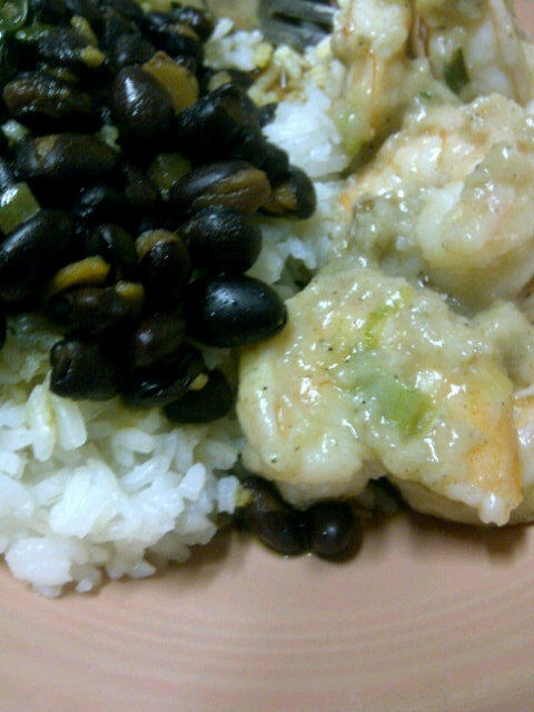 Floured shrimp with rice and black beans | From my table to yours ...