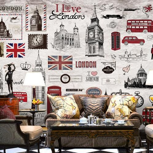 Find More Wallpapers Information About European Retro London Wall Mural 3D  Poster Murals Wallpaper For Living Part 34
