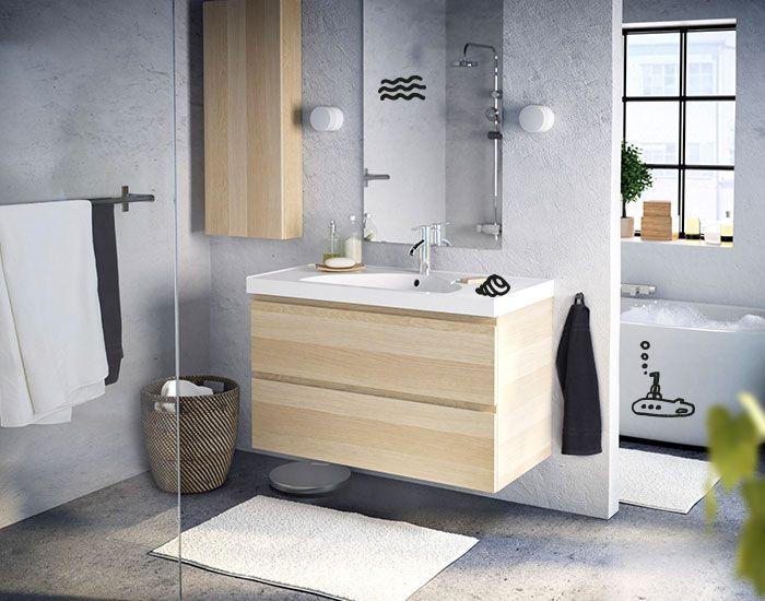 GODMORGON / EDEBOVIKEN Waschbeckenschrank/2 Schubl., Eicheneffekt weiß lasiert Eiche weiß lasiert