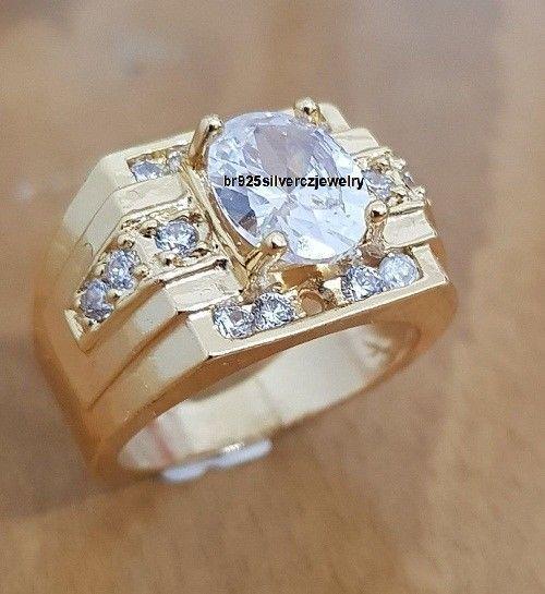 Men's Oval 2.10 Tdw Diamond 14K Yellow Gold Finish Engagement Wedding Pinky Ring #br925silverczjewelry #MensWeddingRing #WeddingEngagementAnniversaryBirthdayGift