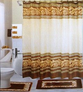 18 Pc Bath Rug Set Chocolate Leaves Design Bathroom Shower Curtain/rings  Towels