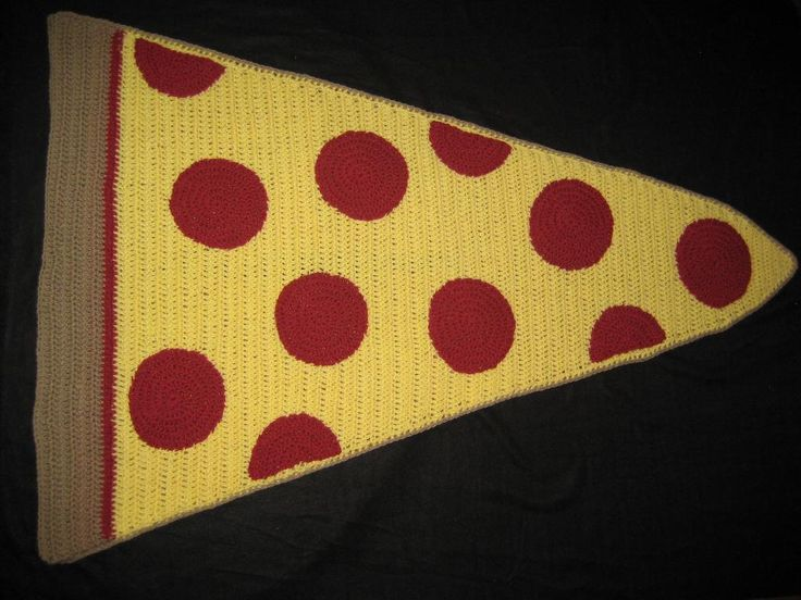 (4) Name: 'Crocheting : Pepperoni Pizza Blanket