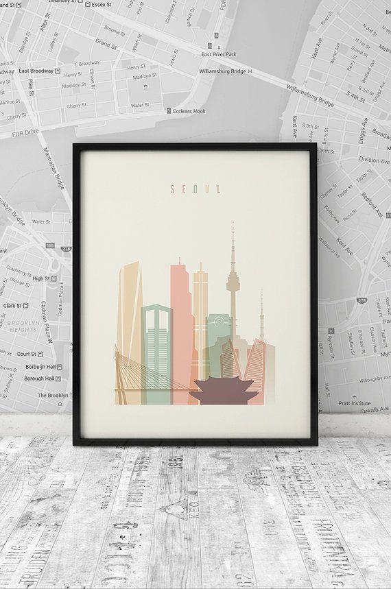 Seoul skyline, Print, Printable Poster, Wall Art, South Korea, City Poster, wall decor, typography art, digital art print INSTANT DOWNLOAD
