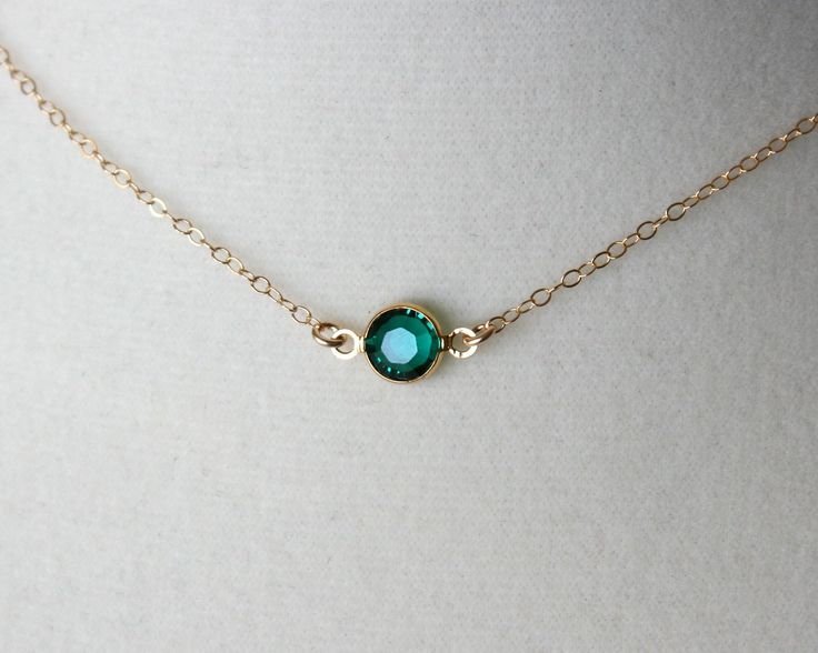 Emerald green crystal necklace - gold filled chain - small dainty gold necklace, simple everyday jewelry, bridesmaid gifts, emerald necklace. $22.00, via Etsy.