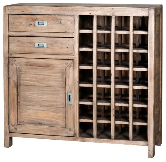 The Post and Rail Wine Cabinet - Sun Dried Ash
