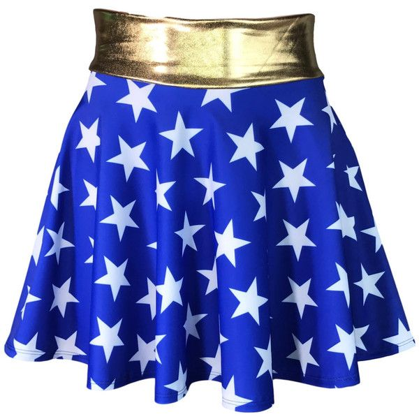 Wonder Woman Inspired High Waisted Skater Skirt Clubwear, Rave Wear,... ($32) ❤ liked on Polyvore featuring costumes, womens costumes, lady halloween costumes, lady costumes, cosplay halloween costumes and wonder woman halloween costume