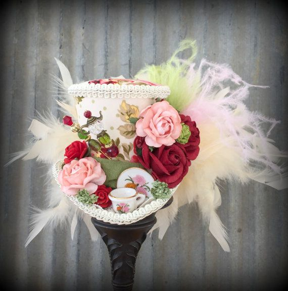 Mini Top Hat Red Rose Tea Cup hat Alice in Wonderland от ChikiBird