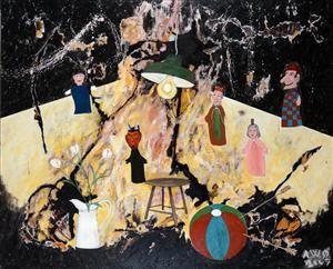 Køb og salg af moderne billedkunst og malerier - Anders W.Ø. Larsen, olie på lærred, 'Allegori ...