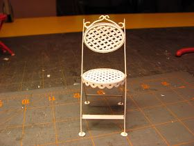 Dollhouse Miniature Furniture - Tutorials | 1 inch minis: 1 INCH SCALE BISTRO CHAIR TUTORIAL - How to make a doll house bistro chair from card stock.