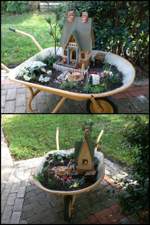 who ever thought of making this mobile fairy garden is a genius learn more about