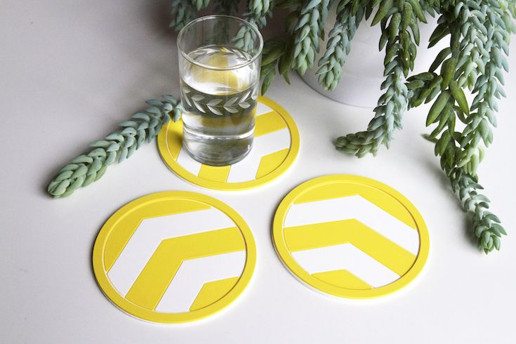 Vessel Coasters Yellow Chevron Coaster