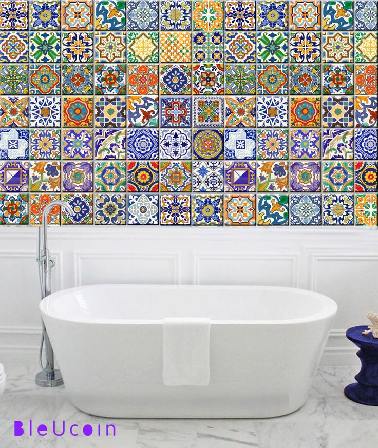 Tile/wall decal : SPANISH Talavera style- 44 DESIGNS (44 pieces) by Bleucoin on Etsy https://www.etsy.com/listing/231530856/tilewall-decal-spanish-talavera-style-44