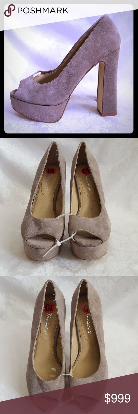 """🌻SALE 🌻 Taupe Suede Open Toe Platform Heels Check out my other listings - 100's of 👠shoes👠, 👢boots👢 and 👜bags👜. Bundle 2 or more and save money! 💲💵💲  New - never worn. Breckelle's suede leather open toe shoes with 5 1/2"""" heel and 1 1/2"""" platform. Style is """"Pandy"""". Color is tan taupe.  Excellent condition. Small scuff at the bottom of heel from being stored. Not noticible. Smoke free and pet free home. Breckelles Shoes Heels"""