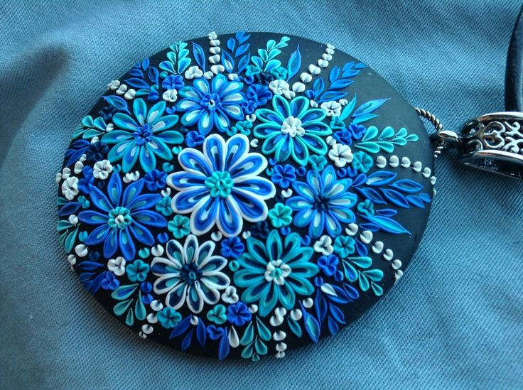 Polymer Clay  Pendant  blue flowers for you by Cherrychestnuts, $48.00