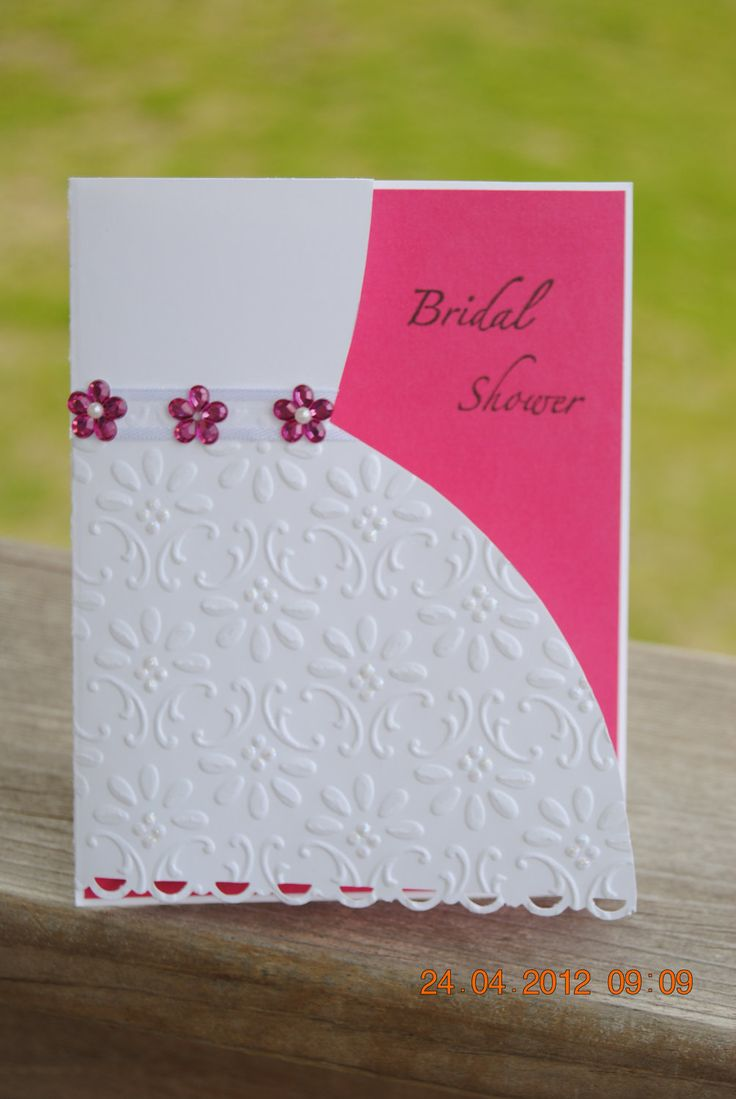 Handcrafted Embossed Bridal Shower Card. $3.50, via Etsy.