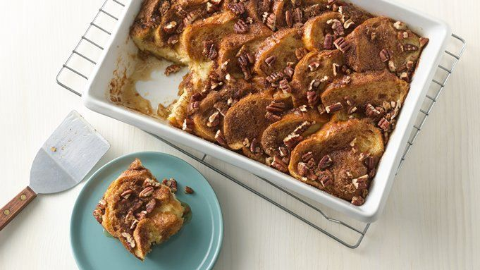 Overnight French toast casserole. One reviewer added precooked bacon between the layers of bread - yummy!