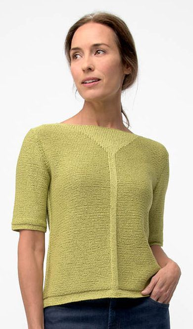 Knitting Pattern for Interval Pullover - I love the geometric detail — and it's just done with stockinette stitch on a background of reverse stockinette on this short-sleeved tee top. Designed by Shellie Anderson