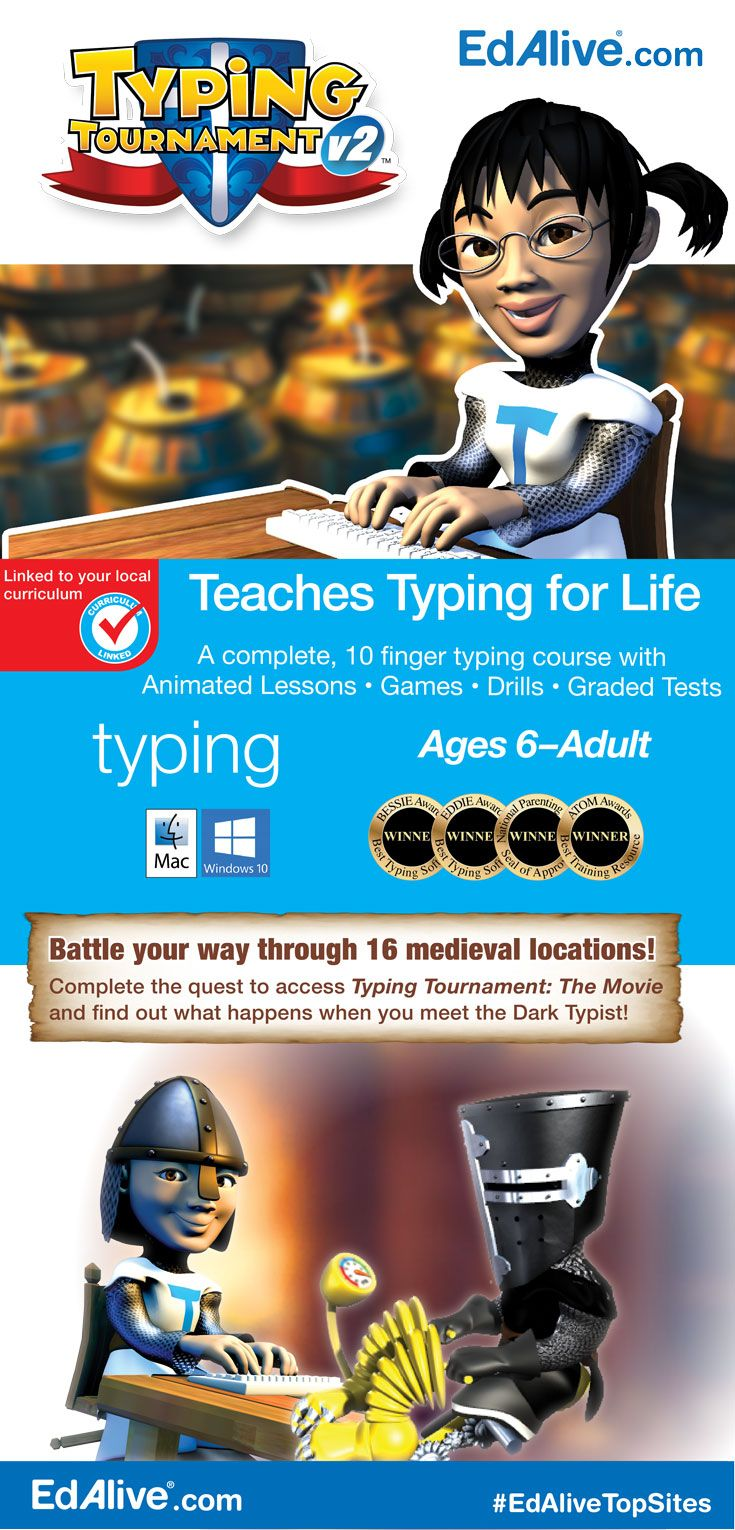 "A powerful typing tutor that teaches typing for life and motivates you to master the keyboard by revealing 16 medieval worlds. Start anywhere, adjust your goals and complete the challenge to take on the Dark Typist!Suitable for all typists including absolute beginners, ""Let's Try Again"" typists and ""Need a Refresher"" typists. Get started straight out of the box, or take advantage of the powerful diagnostic and reporting capabilities to zero in on your learning needs. #Typing…"