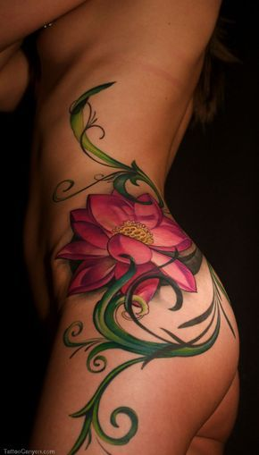 Side Lotus Tattoos For Women Quote Flower Girl picture 17870