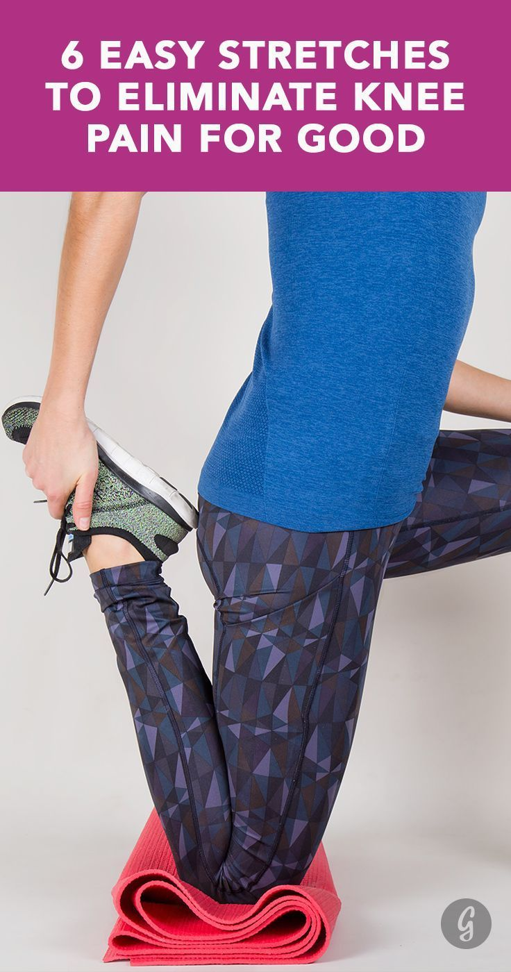 6 Easy Stretches to Eliminate Knee Pain for Good — Say goodbye to frustrating aches and pains with these simple stretches. #knee #injury #stretch #greatist