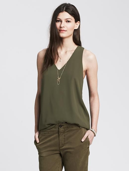Banana Republic Womens Cross Back Crepe Tank Size XS - Seaweed | 28% OFF