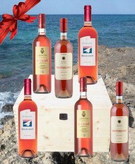 $96.10 www.oilwineitaly.com   Cassetta Rosati di Eccellenza. Cassetta in legno Rosati di eccellenza del Salento.  Il rosé oggi è di moda e i rosati che vi  proponiamo come regalo importante ed elegante hanno ricevuto  premi  internazionali.