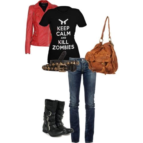 Zombie Apocalypse Outfit.: Apocalypse Outfit Love, Apocalypse Style, Kill Zombies, Fashionista, Clothing, Zombie Apocalypse Outfit, Boots, Shirt
