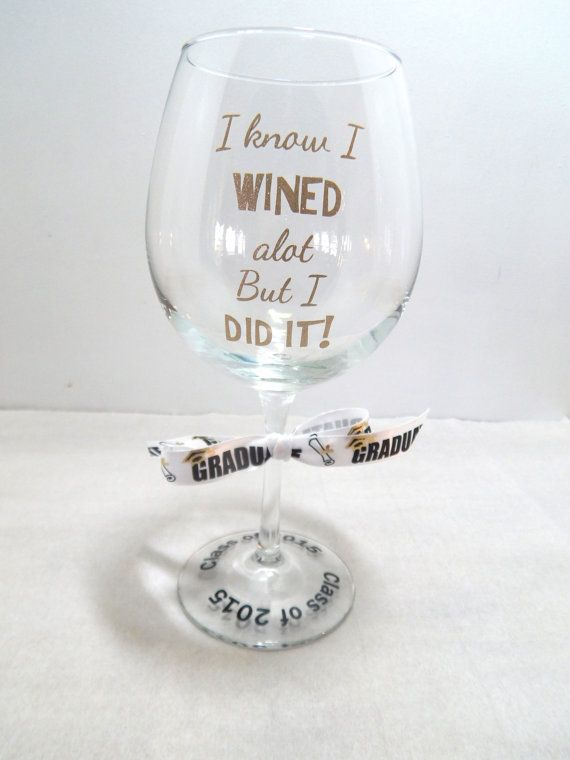 Graduation Wine Glass / Graduation Gift / by BonniesBlossoms
