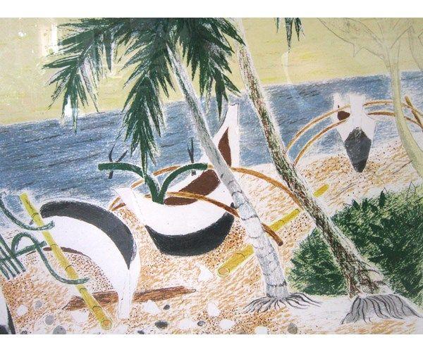 Litografi, Mogens Zieler, motiv: Balinesiske fiskerbåde, b: