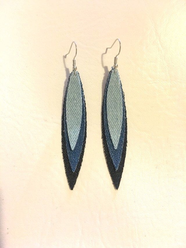 263a6efa1 Excited to share this item from my #etsy shop: Layered fabric drop earrings  denim bluejean long boho bohemian hippie dangle women statement jewelry  unique ...